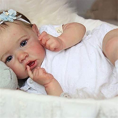 Realistic Reborn Baby Dolls Grey Eyes Girl Newborn Doll Soft Full Silicone Body Lifelike Nurturing Dolls Lightweight Washable Toddler Doll