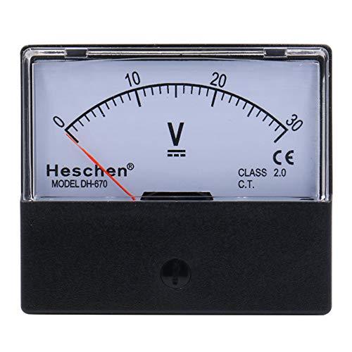 Heschen Voltmeter, rechteckig, analoge Anzeige, Volt-Spannungsprüfer Modell 670, DC 0-30 V, Klasse 2.0.
