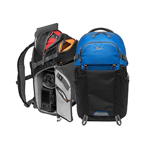 """Lowepro LP37259-PWW Photo Active Outdoor-Fotorucksack (mit QuickShelf Einteiler, fasst 12"""" Laptop/iPad/ 2L Trinkbeutel, für CSC von Sony, Canon, Nikon, Gimbals, Drohnen, DJI, Osmo, Mavic) blau/schwarz"""