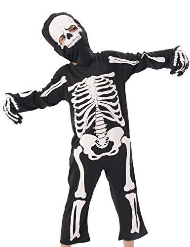 IKALI Kids Skeleton Costumes, Halloween Scary Dress Up, Skull Outfit for carnival Party