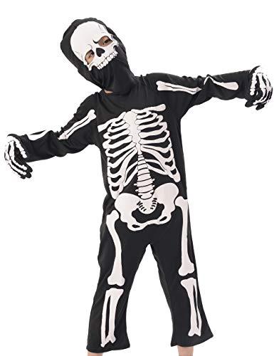 IKALI Disfraces Esqueleto Niños, Aterrador Halloween Zombie Ropa para Carnaval Partido, Dia de los Muertos