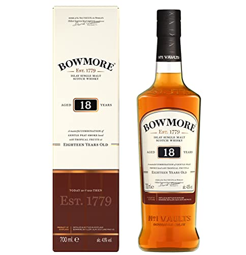 Bowmore 18 Jahre Islay Single Malt Scotch Whisky, mit Geschenkverpackung, komplexer Geschmack mit leichter Rauchnote 43{02241a69063eac8a7438f446905d79af275a707883b8eae77c5dbe74cbe735be} Vol, 1 x 0,7l