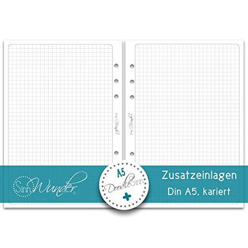 SinnWunder® 50 Blatt Premium Notiz-Papier mit 5 mm Karo - Für 6-Ring Organizer Größe Din A5 (14.8 x 21 cm) - kariertes Papier für Handlettering und Bullet-Journaling