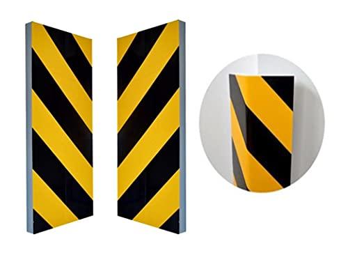 Zagon Protector de Parking - (2UNIDADES) 40x20x2cm - Protector Parachoques para Pared o Esquina - Franjas Amarillas y Negras - Protector de Columna para Garaje