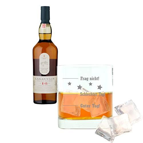 Lagavulin Whiskey 581364 - Juego de 2 Botes de Whisky, Alcohol, 43%, 200 ml, Regalo para el día del Padre, con Cristal Grabado