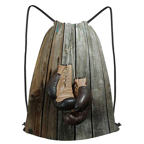 fudin Unisex Wasserdicht Kordelzug Rucksack Retro Boxhandschuhe Turnbeutel Sporttasche für Yoga Freien Schule Strand Schwimmen