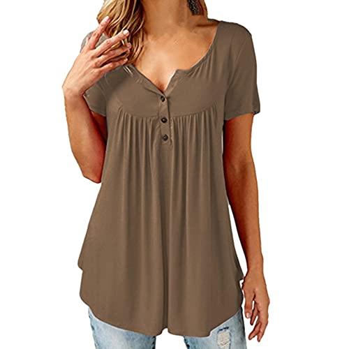 N\P Casual verano de las mujeres sueltas camiseta de manga corta Tops de las mujeres de color sólido camisetas más tamaño