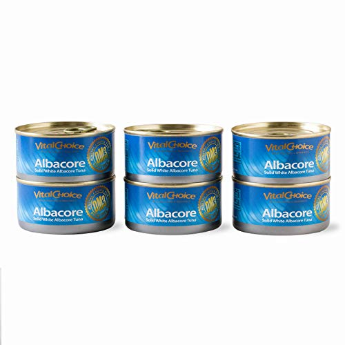 Vital Choice Albacore Tuna Can 6-Pack – Natural, Wild-Caught Canned Tuna – Gluten-Free, Dolphin-Safe, Low-Sodium, Certified Kosher and Sustainable Tuna with Extra Virgin Olive Oil, 6 oz. Cans