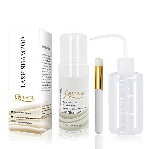 Wimpernverlängerungs-Reiniger, schäumend, 100 ml, Wimpern-Shampoo/Wimpernverlängerung, sicher für den täglichen Gebrauch, ölfrei, mit Spülflasche und weicher Bürste