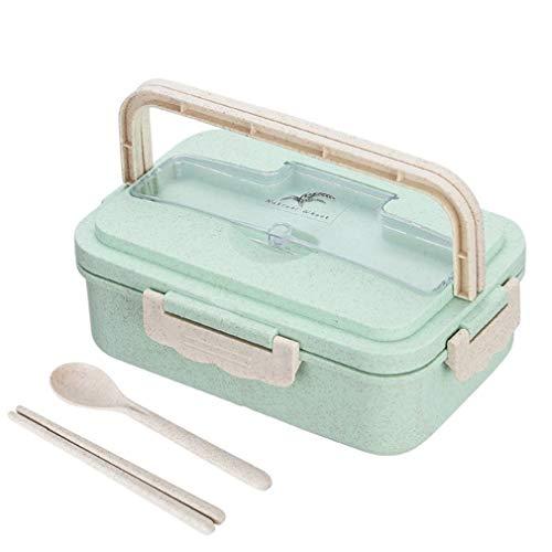 Caja de Almuerzo para microondas de 1000 ml, vajilla de Paja de Trigo de 3 Capas, Almacenamiento de Alimentos (Verde)