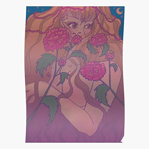 Pink Green Girl Purple Beauty Goddess Hair Woman Regalo para la decoración del hogar Wall Art Print Poster 11.7 x 16.5 inch