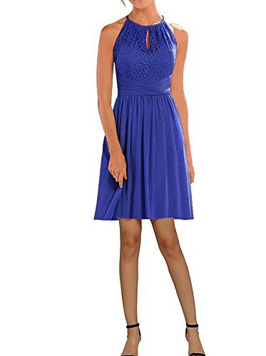 Dresses Onlie Damen Brautjunfer Kleid Kurz Elegant Partykleid Abendkleider Chiffon Spitze Cocktailkleid(Königsblau,50)