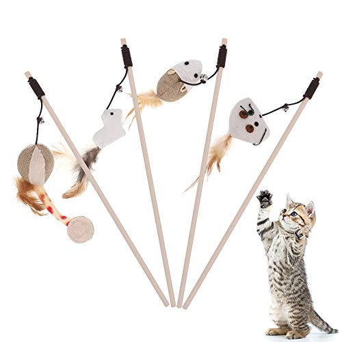 tiopeia Interactive Cat Toys, Natural Sisal Wand Teasers and Exerciser for Cat with Toy, Bell, Feather, Elastic String and Sturdy Wood Rod, Set of 4