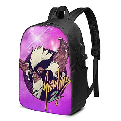 Rononand backpack Zaino Con porta di ricarica USB Zaino per laptop impermeabile casual elegante Borsa da viaggio ultraleggera Gremlins
