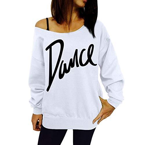 iHENGH Damen Frühling Sommer Top Bluse Bequem Lässig Mode Frauen Lose Slash Neck Sweatshirt Damen Casual Brief Tanz Pullover Tops(Weiß, 2XL)