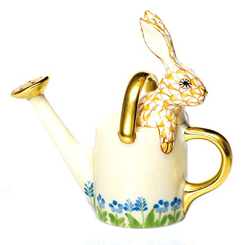 Herend Watering Can Bunny Rabbit Porcelain Figurine Butterscotch Fishnet