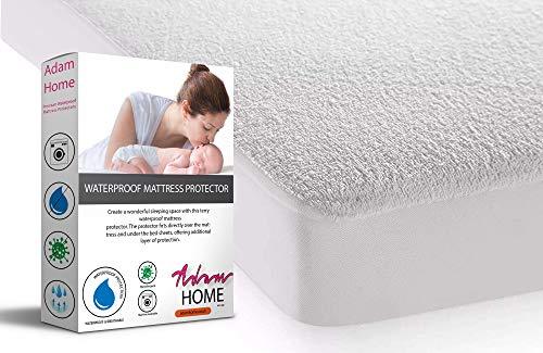 Adam Home Protector de colchón impermeable de algodón de rizo   transpirable, a prueba de agua y humedad, antialérgico y antiácaros, sábana bajera ajustable extra profunda para cama doble
