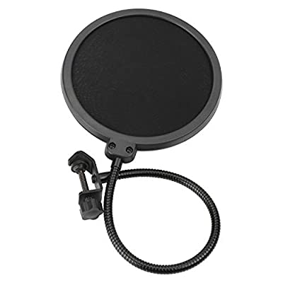 Pop Screen Microphone Pop Filter for Blue Yeti and Any Other Microphone Dual Layered With Flexible 360° Gooseneck and Metal Stabilizing