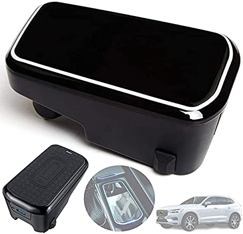 Cargador de Coche Inalámbrico para Volvo XC90 XC60 S90 V90 2020 2019 2018 Panel de Accesorios de Consola Central, Cargador Rápido Inalámbrico de 10W con 2 USB QC3.0 de 18W para iPhone 11 / XS/XR/X