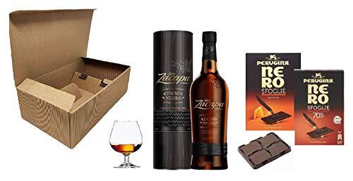 Cofanetto Degustazione Rum -ZACAPA- con due confezioni di Sfoglie di Purissimo Cioccolato Perugina più Bicchiere Napoleon in vetro da Meditazione (Zacapa Edition Negra)