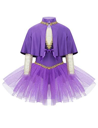 MSemis Vestido Bailarina para Nias Maillot Danza Ballet Lujoso Disfraz Dominadora Circo Traje Disfraces Gran Showman Ringmaster Fiesta Halloween Navidad Morado 8 Aos
