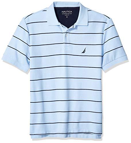Nautica Men's Classic Short Sleeve Striped Polo T-Shirt, Sea Mist, X-Large
