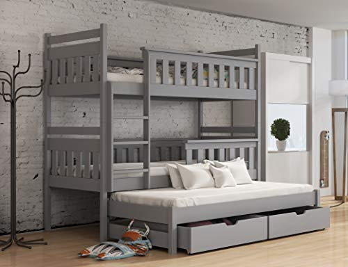 Modern Kids Children Wooden Solid Pine Bunk Bed KORS With Storage Drawers in GREY sold by Arthauss