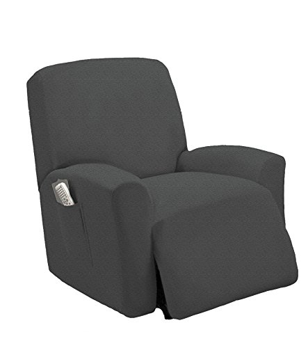 Queen Linens One Piece Stretch Recliner Slipcover, Stretch Fit Furniture Chair Recliner Lazy Boy Cover Slipcover, Estella (Cool Grey) -  Queen linens Inc, 8541872597
