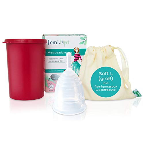 Wiederverwendbare Menstruationstasse Medizinisches Silikon von FemiOpt für nachhaltige Monatshygiene I Menscup Menstruationsbecher Silikon Tasse Menstruation Cup mit Reinigungsbecher SOFT Größe L