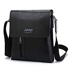 Jeep Buluo Leather Cross-Body Sling bag Men (Black)