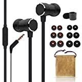 WalkerFit in-Ear Headphones with Microphone, Earbuds Wired Stereo Bass, Call Controller Compatible with Smartphones, iPod, iPad, MP3 Players and All Device with 3.5mm Jack, Strengthen Cable, Black