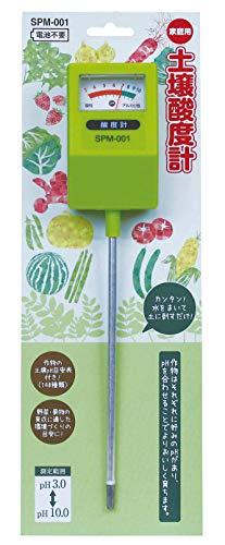 高森コーキ 温度計・湿度計 グリーン 5×3×24cm 土壌酸度計 pH計 電池不要 作物140種の目安表付 SPM-001