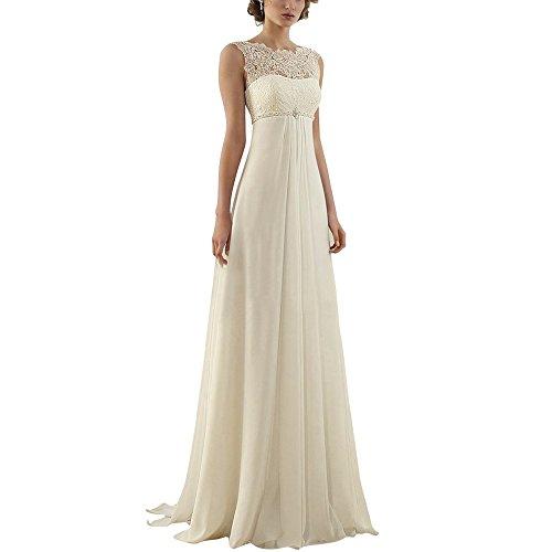 Abaowedding Women's Sleeveless Lace Up Long Bridal Gown Wedding Dresses US 8 Ivory