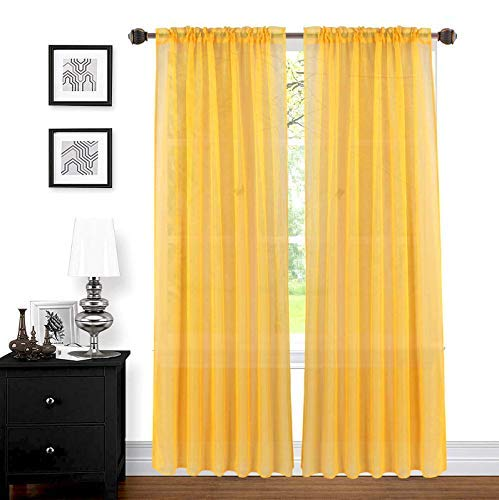 """LinenTopia 2pc Sheer Voile Curtain Panels Set of 2, Home Window Decoration Treatment for Living Room, Solid Color, Decorative Sheer Panels (Sheer, 84"""", Yellow Mustard)"""
