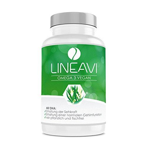 LINEAVI Omega 3 Vegano, ácidos Omega 3 Procedentes de Aceite de Algas, la Alternativa Vegetal a los preparados de Aceite de Pescado, Fabricado en Alemania, 60 cápsulas (para 2 Meses)