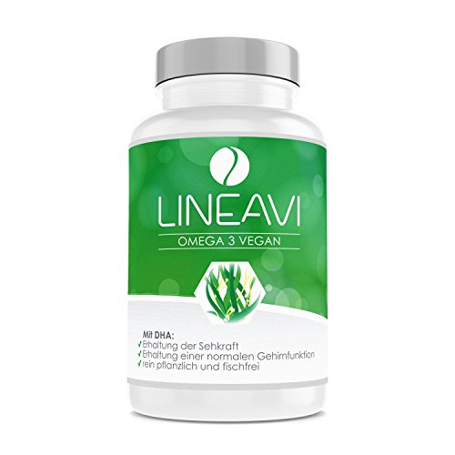 LINEAVI Omega 3 Vegan, high Quality Omega-3 Fatty acids from Algae Oil, Plant-Based Alternative to Fish Oil, Made in Germany, 60 Vegetarian Capsules (2-Month Supply)