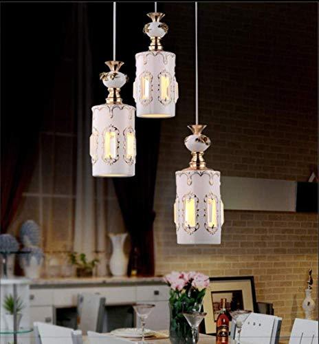HLL Luz de Techo, Luz 3 Llamas de la Lámpara Moderna Del Restaurante Lámpara Colgante de Cristal de la Lámpara Cerámica de Lujo Elegante de la Manera China Redonda Mesa de Comedor Sala de Estar Cafe