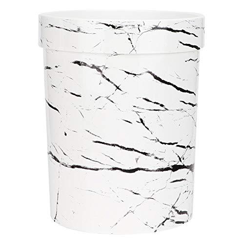 Wifehelper Weiß Haushalts Badezimmer Mülleimer Marmor Deckellos Mülleimer Aschenbecher Mülleimer Container(Weiß)