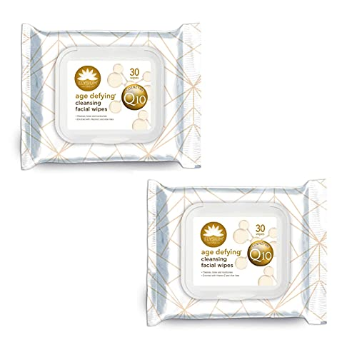 Age Defying Coenzyme Q10 Cleansing Facial Wipes Enriched with Vitamin E and...