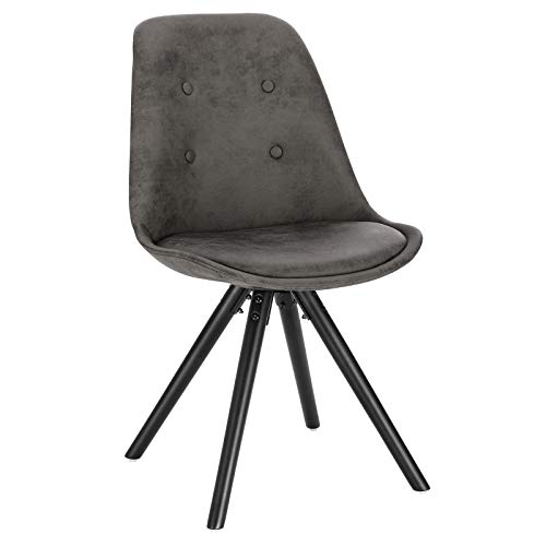 WOLTU Anthracite Kitchen Dining Chair 1 Piece Upholstered Counter Lounge Living Room Corner Wooden Chair with Backrest & Padded Seat Solid Black Wood Legs Reception Chair Fabric