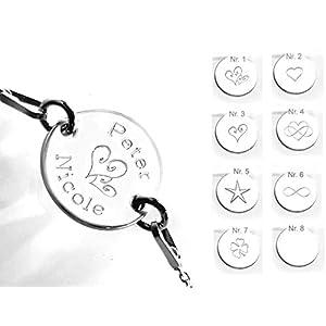 925 Silber, Armband mit Gravur, Runde Platte, 1.2 cm, Namen & Symbole (Herz, Unendlichzeichen, Star, Kleeblatt)