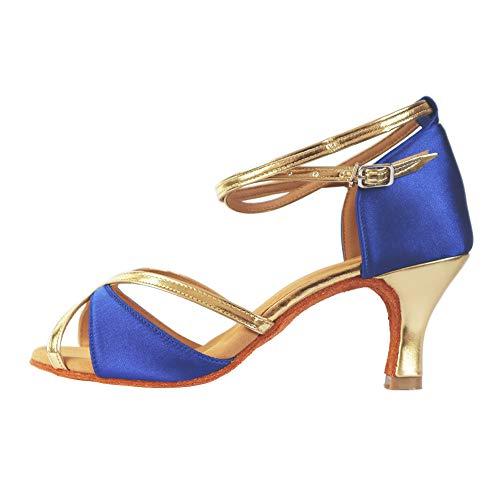 TRIWORIAE-Zapatos de Baile Latino de Tacón Alto/Medio para Mujer Azul 39(Tacón 7cm)
