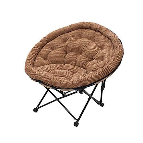 WJJJ WJJJ Möbel Mond Klappstuhl Outdoor Camping Stuhl für die Erholung ohne Getränkehalter Gepolsterte Faltbare Stahlrahmen Tragbare (Farbe: Kaffee)
