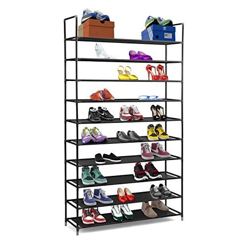 Halter Meuble à chaussures 10 étages en acier inoxydable Étagères empilables Capacité 50 paires de chaussures 90,8 x 28,3 x 87 cm Noir noir
