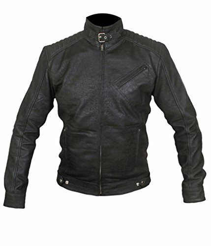 Flesh & Hide F&H Men's Distressed Bourne Legacy Jeremy Renner Genuine Leather Jacket 2XL Black