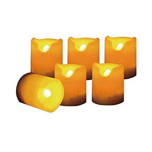 "Candle Choice 6 PCS Flameless Votive Candles with Timer, LED Votives, Battery Operated Powered Realistic Bright Flickering Votives, Long Battery Life, 400+ Hours/CR2450 Battery, Size 1.5""(D)x2""(H)"
