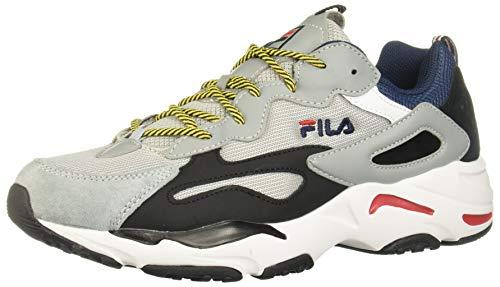 Fila Men's Ray Tracer Sneakers, Grey/Navy/Black, 11 Medium US