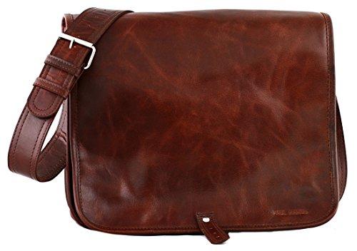 PAUL MARIUS messenger bag A4 stile vintage taglia (M) LE MESSAGER BRUN D'AUTOMNE colore Marrone Bruno