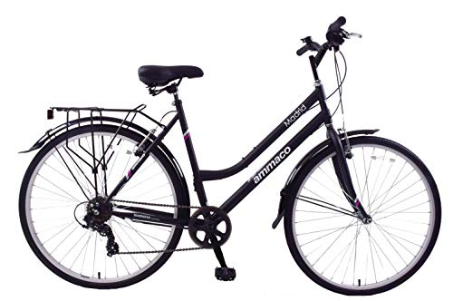 Ammaco Madrid 700c Womens Hybrid City 7 Speed Bike Carrier Rack Kickstand & Mudguards Black 16' Frame