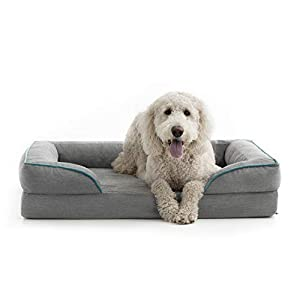 BrindleOrthopedic Memory FoamPet Bedwith Wrap Around Bolster– Plush Dog and Cat Bed–Removable VelvetCover, Extra Large, Dove Grey